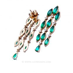Colombian Emerald Yellow Gold Earrings 19713 - Lee Wasson