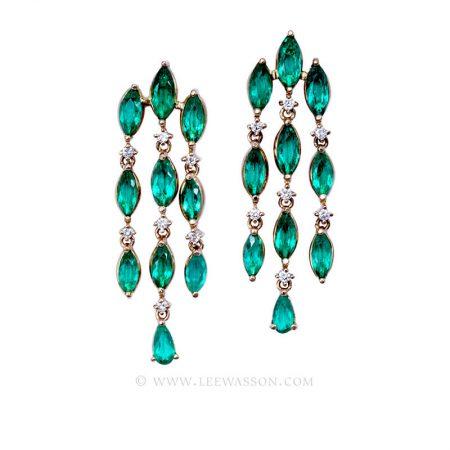 Colombian Emerald Yellow Gold Earrings 19713 - Lee Wasson