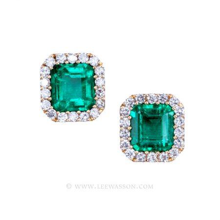 Colombian Emerald Yellow Gold Earrings 19715 - Lee Wasson