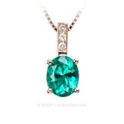 Colombian Emerald Yellow Gold Pendant 19705 - Lee Wasson