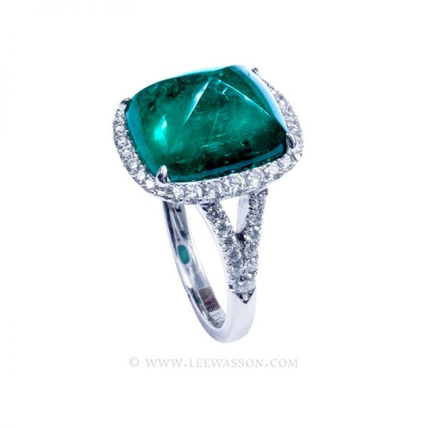 Gorgeous Colombian Emerald Engagement Ring set in 18K White Gold & Diamonds. leewasson.com - 19720 - 3
