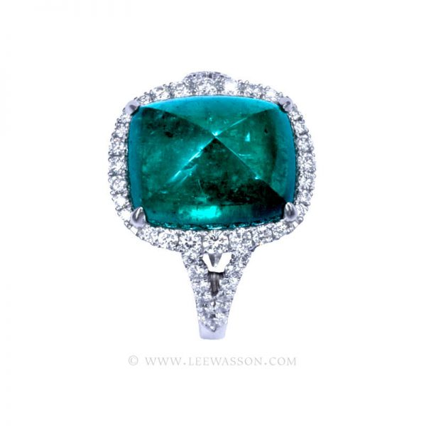 Gorgeous Colombian Emerald Engagement Ring set in 18K White Gold & Diamonds. leewasson.com - 19720 - 2