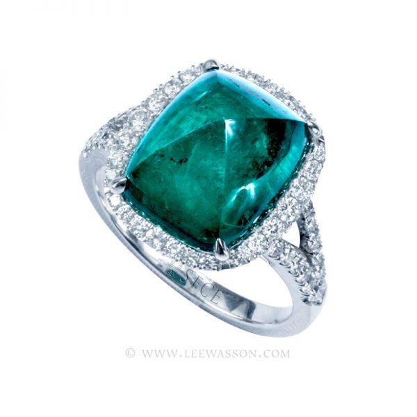 Colombian Emerald Ring, Sugar Loaf Cut Emerald, Over 7.00 Carat. leewasson.com -19720 -  1