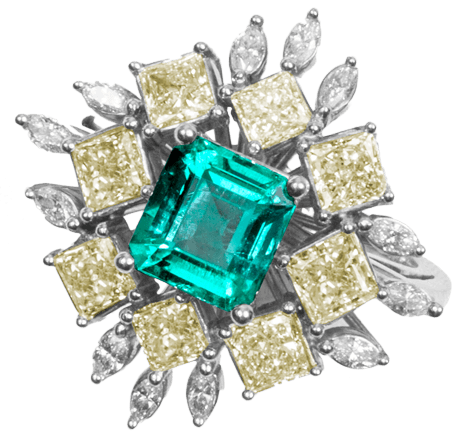 Colombian Emerald Ring Asscher Cut - Lee Wasson
