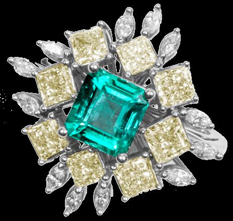 Colombian Emerald Ring Asscher Cut - Lee Wasson